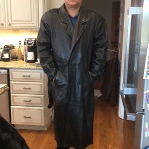VTG Andrew Marc Leather Trench Coat Size L